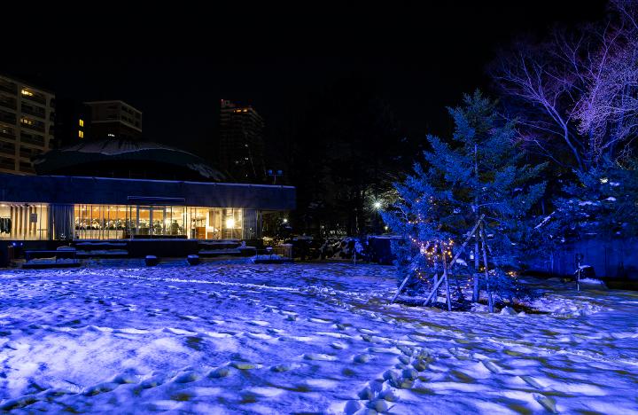札幌パークホテル ブルーに光る中庭
